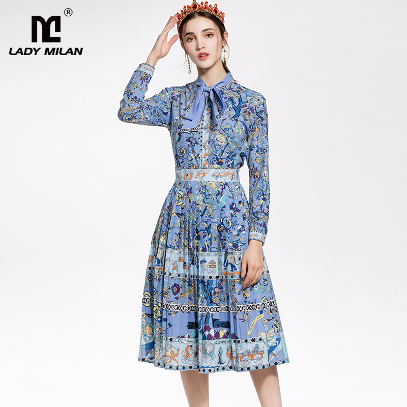 New Arrival 2018 Womens Sash Bow Collar Printed Shirt with Pleated Skirts Fashion Designer Twinsets Casual Dresses Sets