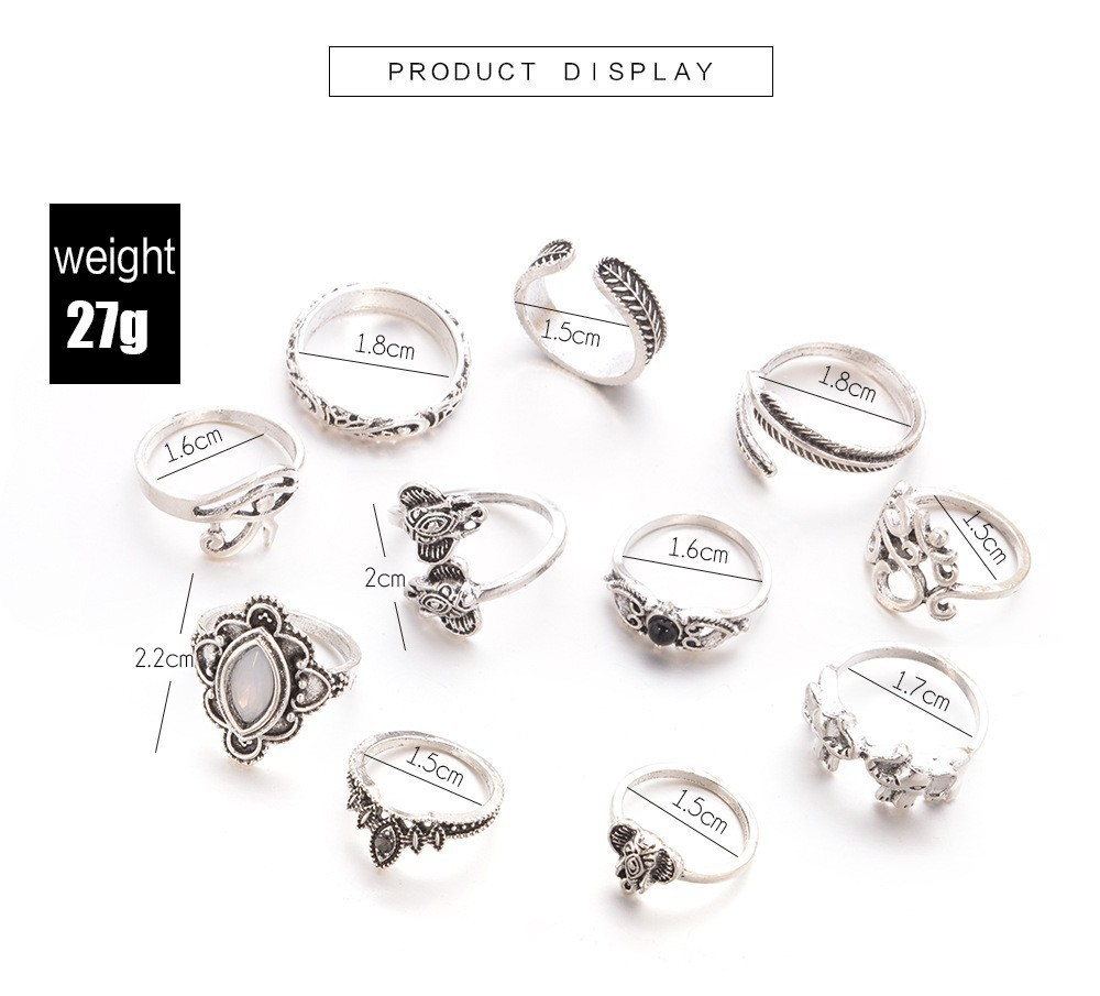 Bague Femme Vintage Rings for Women Boho Geometric Flower Crystal Knuckle Ring Set Bohemian Midi Finger Jewelry Silver Color 50