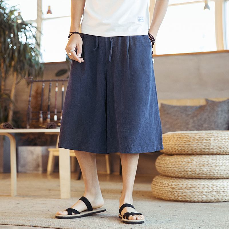 Male Women Skirt Trousers Travel Wide Leg Pant Men Summer Cotton Linen Casual Loose Harem Pant