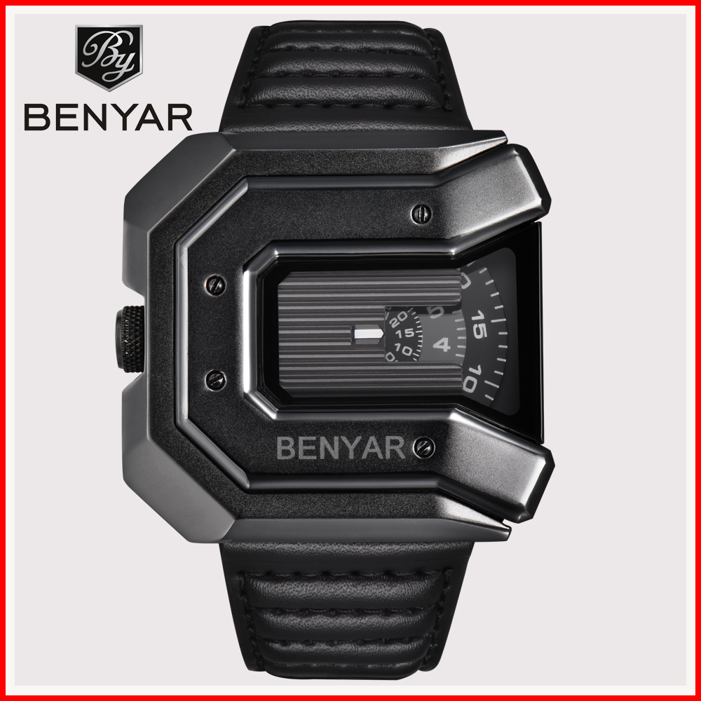 2019 New Fashion Mens Watch BENYAR Militray Quartz Leather Waterproof Watches Relogio Masculino erkek kol saati
