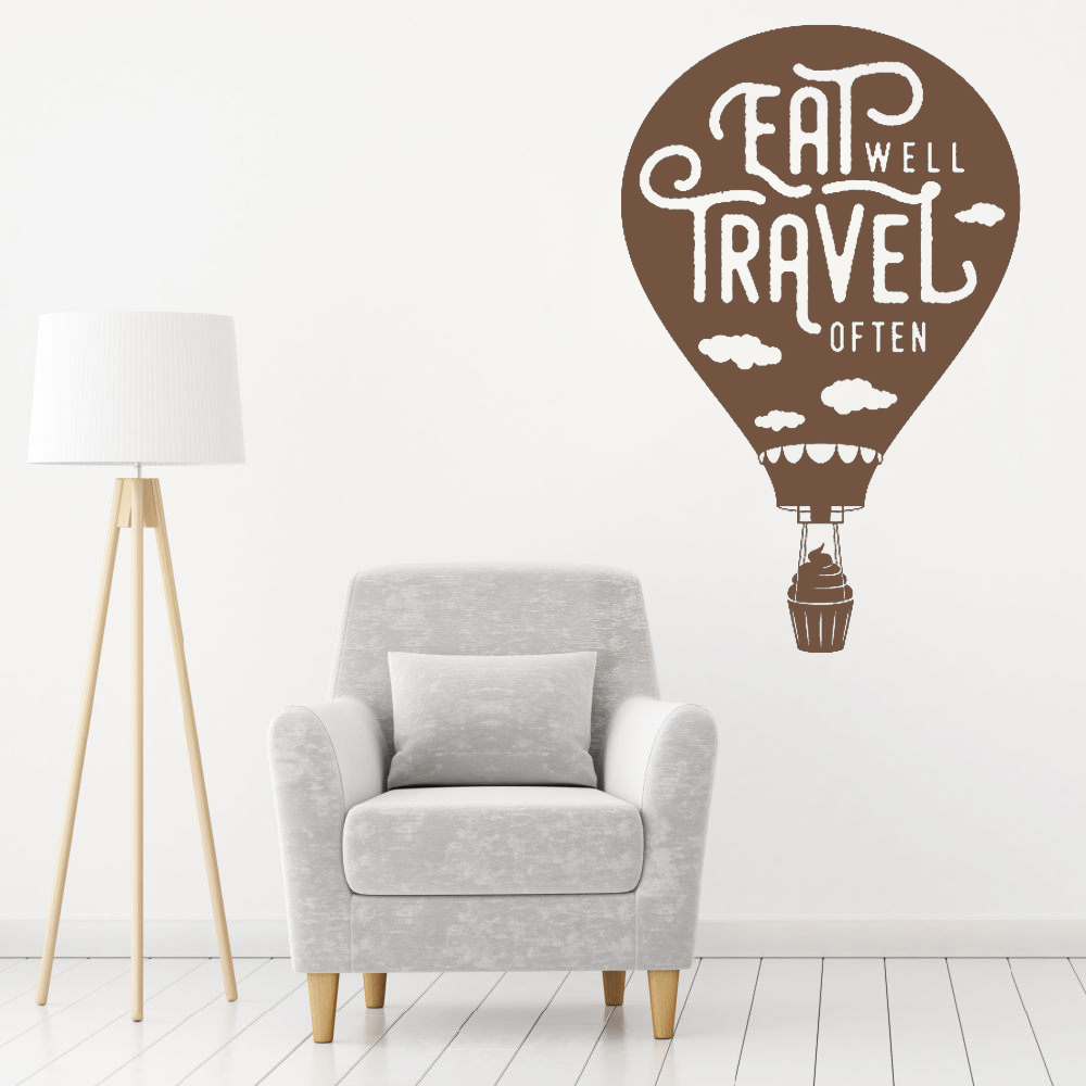 Hot Air Balloon Quotes Wall Sticker Decal For Kitchen Dining Room Wall Mural Vinyl Removable Modern Home Decor Wall Decals LC339