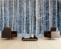 Custom Landscape Wallpaper Snowy Birch Forest 3D Photo Mural For Living Room Bedroom Kitchen Background Waterproof