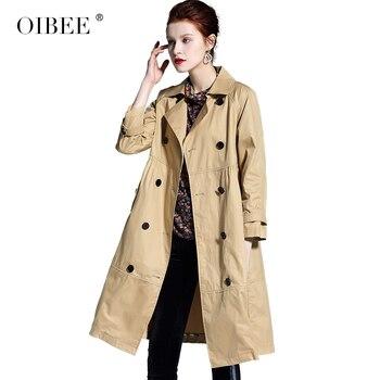 OIBEE2019 spring women's long double-breasted suit collar long-sleeved windbreaker jacket