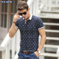 Polo Shirt Homme Short  Sleeve Tops Men Polos Collar Cotton Dot Slim Fashion Print  xxxl  Solid Brand Clothing Breathable Hot