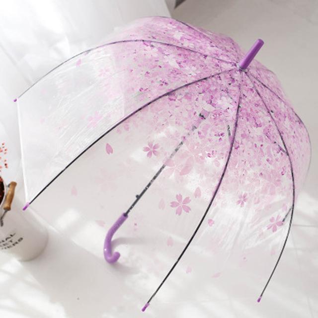 Flower Print Long-handle Women Transparent Umbrella Fashion Children Kids Sun Parasol Ladies Automatic Clear Rain Umbrella YJ003
