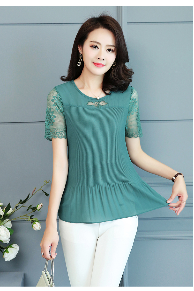 2019 Summer Top and Blouses Women Plus Size Clothes Red Green Yellow Pink Pleated Top Patchwork Lace Chiffon Peplum Top 5XL 4XL 31