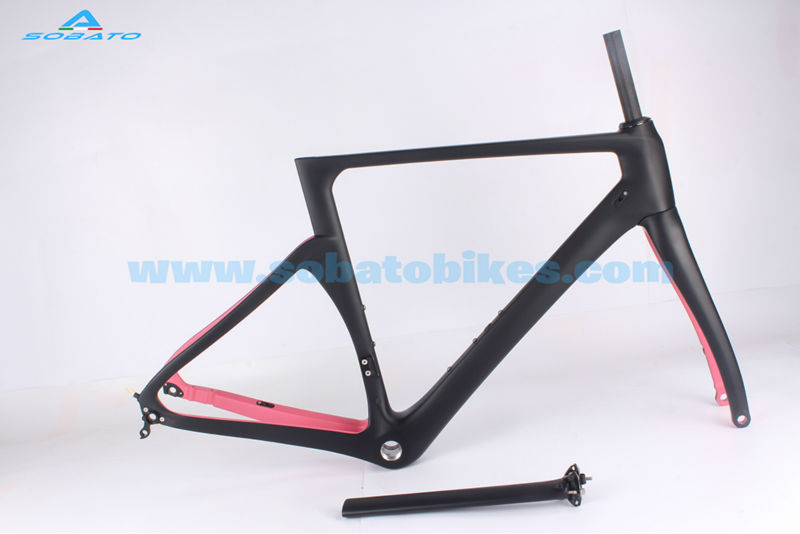 New Pink Full Carbon Fiber Road Bicycle Bike Racing Frameset Road Carbon Frame Pink Color Painted 49/52/54/56/58 cm 2018 carbon track frame carbon fiber fixed gear bike frame carbon racing tracking bike frameset 49 51 54cm with fork seatpost