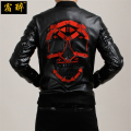 [HANGOVER]Embroidered skull pattern quality motorcycle leather jacket 2016 Autumn&Winter European style leather jacket men M-4XL