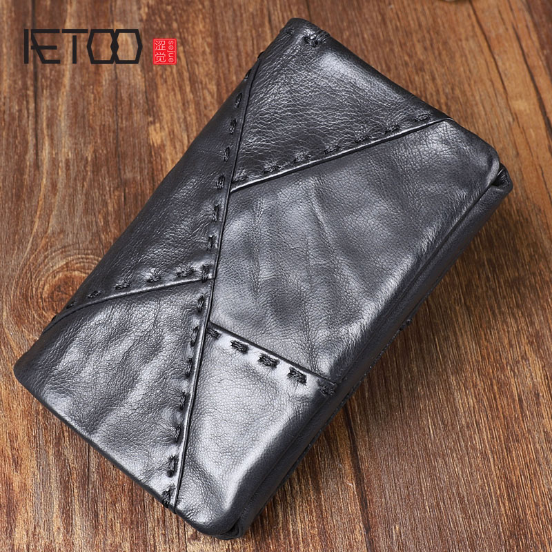 AETOO Original retro multi-functional design leather 30% vertical wallet Original header suede short template leather closure wa foldover suede wallet