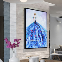 Fashion 100% Handpainted Girl Canvas Modern Art Posters Abstract Canvas Painting Wall painting for Living Room Home Decoration