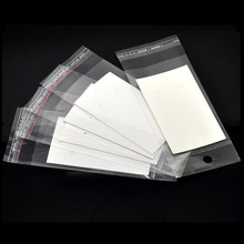 100Pcs White Paper Earring Display Cards Self-Adhesive Bags Jewelry DIY Findings 9x5cm