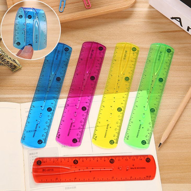 Coloffice 1PC Coloful Soft Rulers 15CM Tape Student Stationery Soft Feet Safety To Use Ruler Bent Office School Supplies