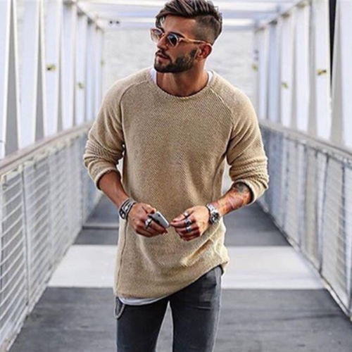 Spring Autumn Mens Sweaters Pullover Solid Simple Style Cotton O neck Long Sleeve Sweater Jumpers Thin Male knitwear