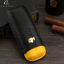 COHIBA Carbon Fibre Cigar Case Leather Mini Humidor Box Portable Cigars Holder With Gift