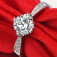 TT 925 Sterling Silver 1 Carat 2 Carat SONA Simulated Gem Engagement Rings For Women Wedding