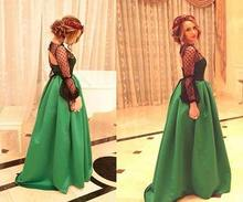 Scoop Long Sleeves Floor Length Green Evening Dress Glamorous Open Back Satin Dresses