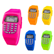 New ArrivalFashion Digital Calculator With LED Watch Function Casual Silicone Sports For Kids Children Multifunction Calculating