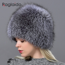 Raglaido Winter Cap Bont Hoed Vrouwen Vos Knit Beanie Hat Balaclava Lady Winter Sneeuw Cap Luxe Merk Hoeden Gorro Masculino LQ11177