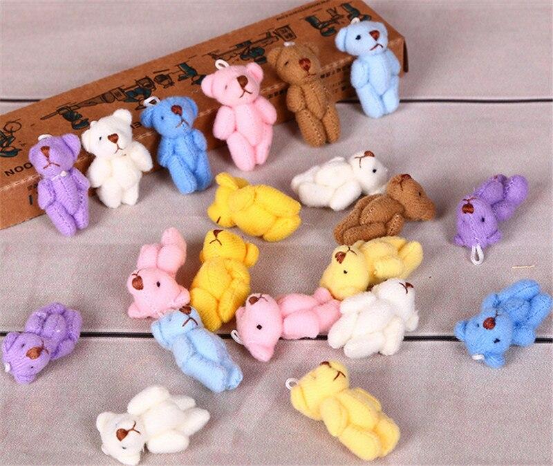 1PC Super Kawaii Mini 4cm Joint Bowtie Teddy Bear Plush Kids Toys Stuffed Dolls Wedding Gift For Children 2019