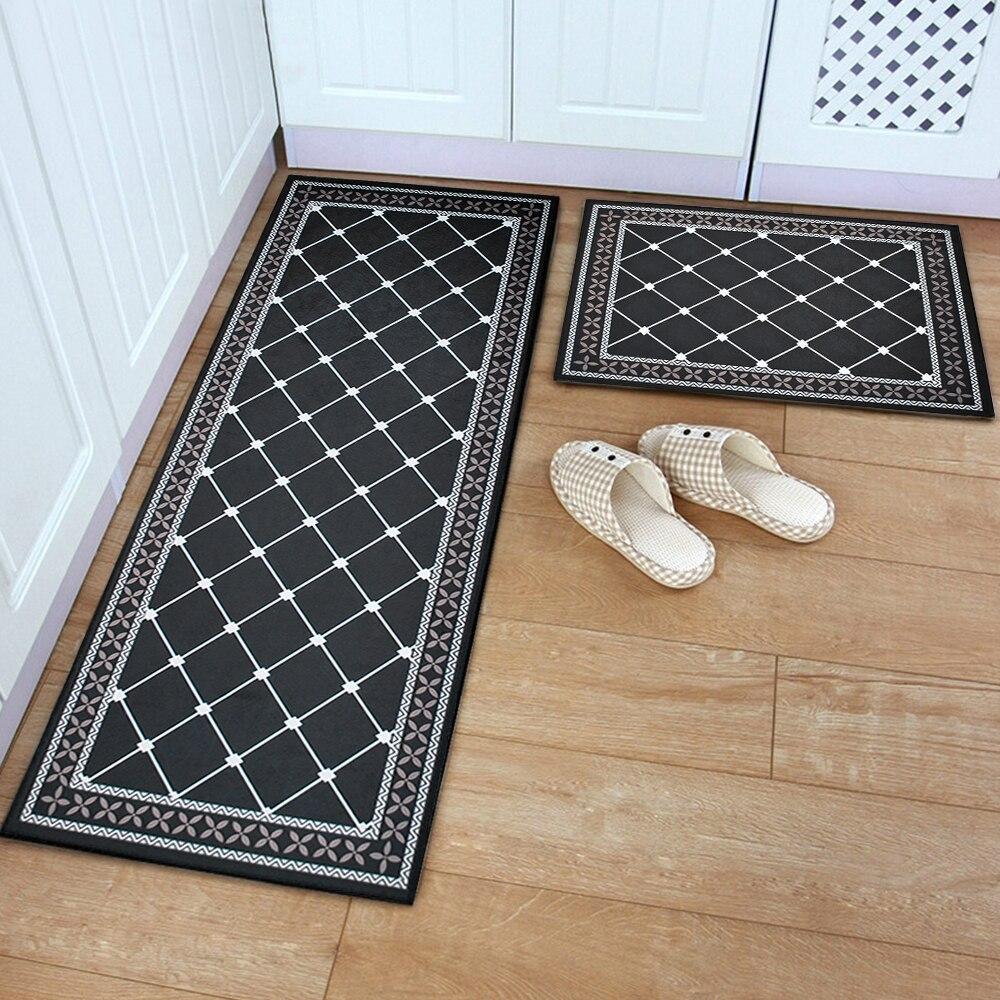 Nordic Flannel Grid Doormat Soft Plush Carpet Kitchen Floor Mat Anti Slip Entrance Rug Welcome Door & Nordic Flannel Grid Doormat Soft Plush Carpet Kitchen Floor Mat Anti ...