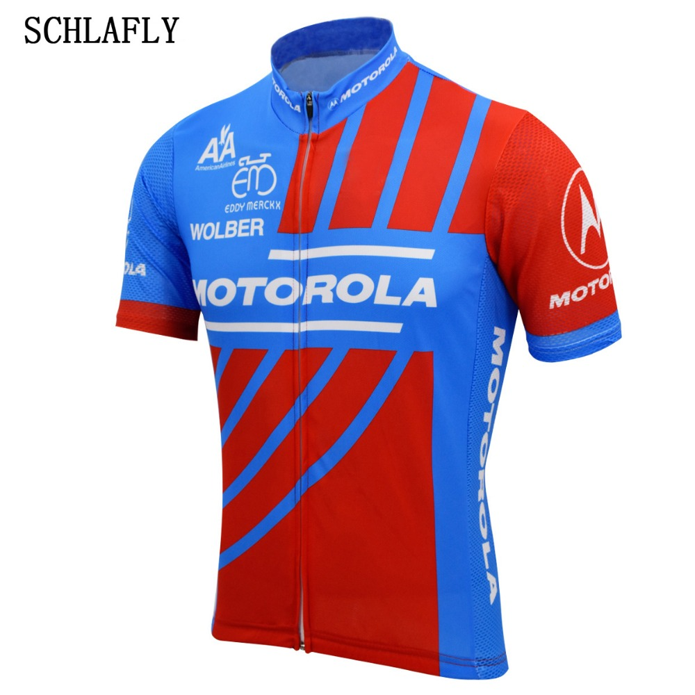 Schlafly Cycling Jersey Motorola Bike-Wear Short-Sleeve Pro-Road Summer Blue Red