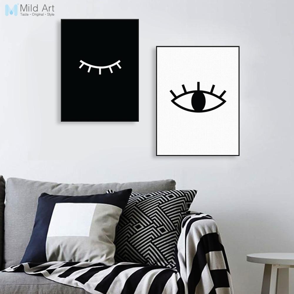 Modern Abstrak Hitam Putih Mata Poster Nordic Minimalis Ruang Tamu