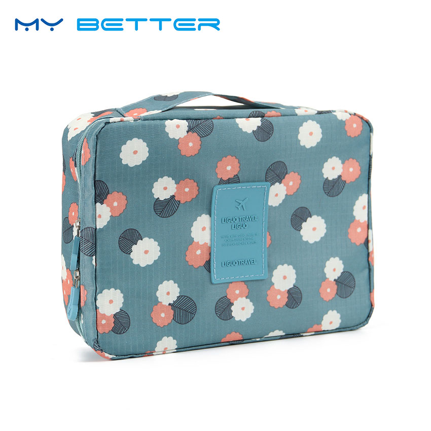 Women Makeup Bag Cosmetic Case Make Up Organizer Toiletry Storage Neceser Rushed Floral Nylon Zipper New Travel Wash Pouch fadixi 1717 convenient nylon toiletry storage organizer wash bag for travel blue