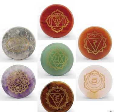 Small 30mm round  7 pieces/set Chakra Stone reiking healing stone for yoga открывалка stone 30 a0015