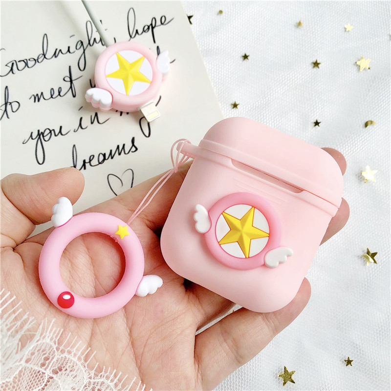 Cute Pink Silicone Case for Apple Airpods Air Pods Accessories Protective Cover Bluetooth Earphone Case With Wing Strap