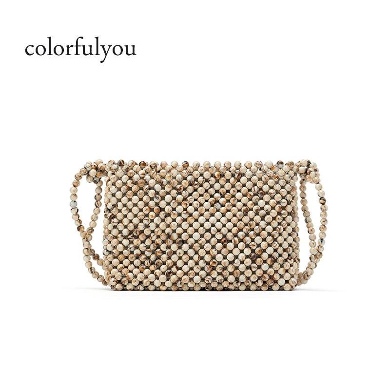 Perles acryliques femmes sac à main à la main perles sac à bandoulière petite capacité sac à bandoulière couleurs naturelles perles sacs 2019 été nouveau