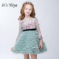 Это yiiya сладкий драпированные сетки для девочек платья принцессы бальное высокое Класс лоскутное кружевные цветы для девочек мини платье