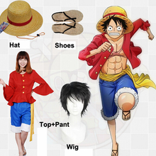 Free Shipping Stock Monkey Second D.Luffy Cosplay Costume From One Piece Anime Hat Shoes Wig to Choose