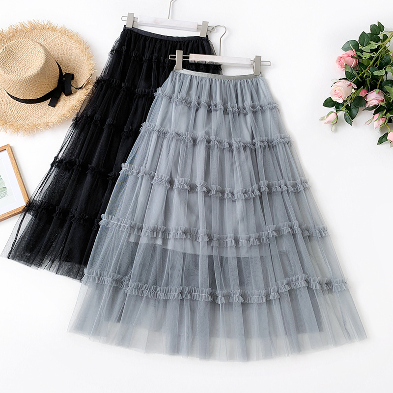 AcFirst Summer Women Fashion Green Gray Skirts High Waist Ball Gown Pleated Ankle Length Skirt Mesh Clothing A-Line