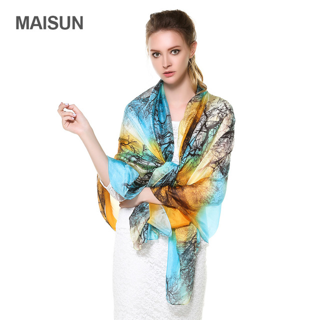 [MAISUN] Высокое Качество Тонкий Истинные Шелковые Ткани Платок Леди Полосой Шаблон Шелковые Шарфы Мода Шелковый Шарф Для Женщин
