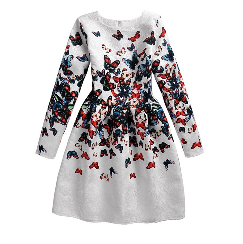 Kids Long Dress Autumn Sleeve Casual Girls Wear Printed Floral Butterfly Dresses