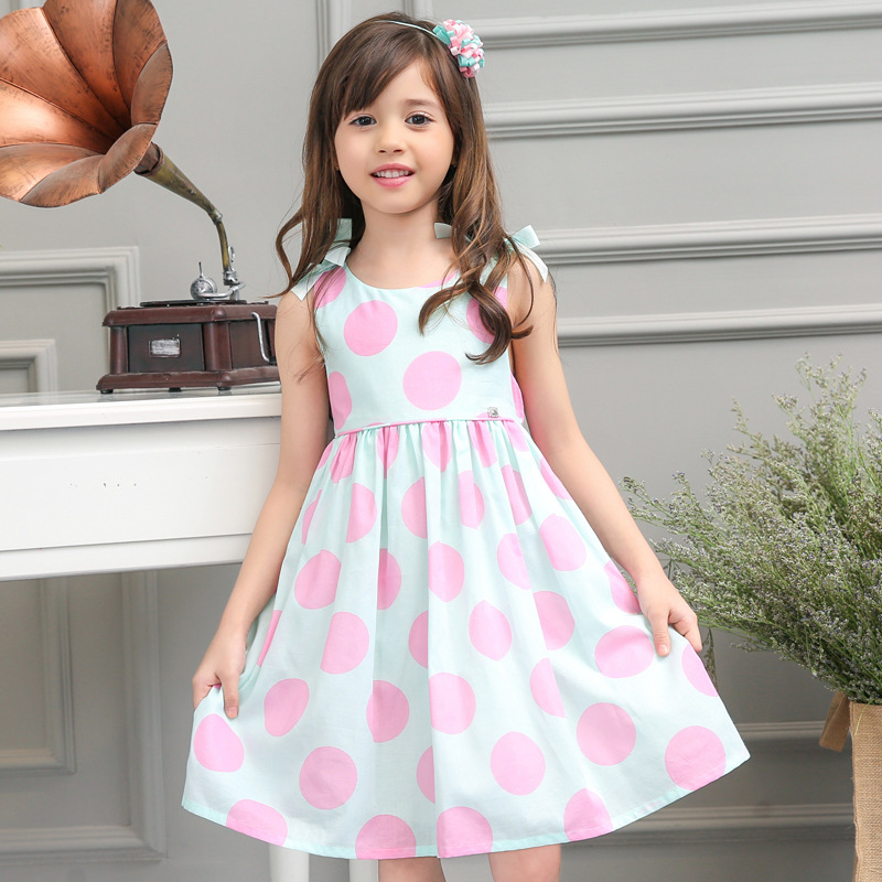 2016 Kids High Quality Evening Dresses Girl Summer Princess Dress Baby Girls Polka Dot Party Dress Children Clothes