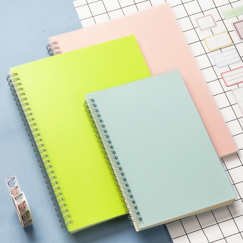A5 Colored PP Cover Dot/Grid/Blank/Line Coil Sketchbook Notebook For Painting Drawing Kids