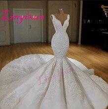Dubai Sexy Corset Mermaid Wedding Dresses Deep V Neck Sleeveless Lace Appliques Wedding Gowns 2018 Sweep Train Bridal Dress