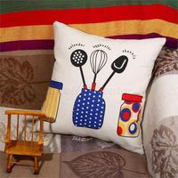 Fashion Linen Cotton Pillow Case Kitchen Utensils Butter Fly Pattern Sofa Bed Home Decor Cushion Cover