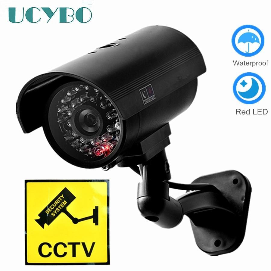 Cámara ficticia falsa seguridad CCTV exterior impermeable señuelo LED IR flash WiFi rojo Led cámara de videovigilancia