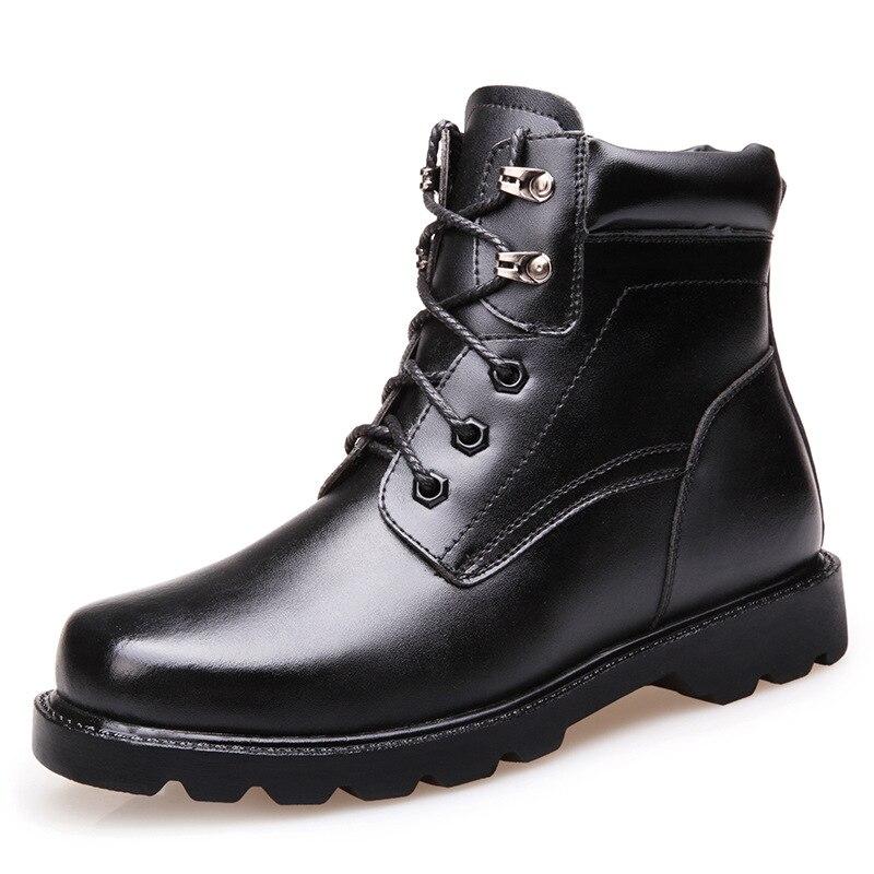 With Fur Boucle Bottes Vintage Cuir Black Véritable De Boot Moto Chaussures 2018 Nouveau Imperméable Militaire Combat black Fourrure Hommes Hiver fqFnwC4T