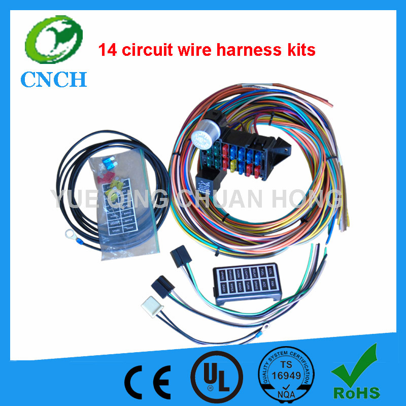14 Circuit Universal Wire Harness kits Muscle Car hot rod street rod XL wires aliexpress com buy 14 circuit universal wire harness kits muscle universal wire harness at edmiracle.co