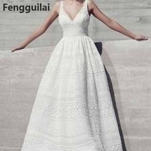2018 Fashion Women Fashion Deep V Neck Sleeveless High Waist Lace Party Dress