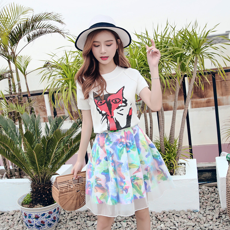 Women Summer Slim 2 Two Piece Set White Fox Knitting Silk Cotton with Tulle Colorful Mini Skirt Matching Sets Outfits Ropa Mujer knitting