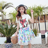 Women Summer Slim 2 Two Piece Set White Fox Knitting Silk Cotton with Tulle Colorful Mini Skirt Matching Sets Outfits Ropa Mujer