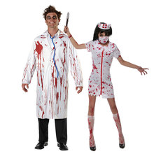 Umorden Halloween White Bloody Zombie Nurse Costume Women Men Couple Adult Scary Doctor Insane Surgeon Costumes Cosplay