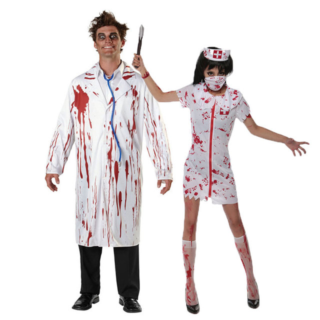 a11bb8f50fe2e Umorden Halloween White Bloody Zombie Nurse Costume Women Men Couple Adult  Scary Doctor Insane Surgeon Costumes Cosplay
