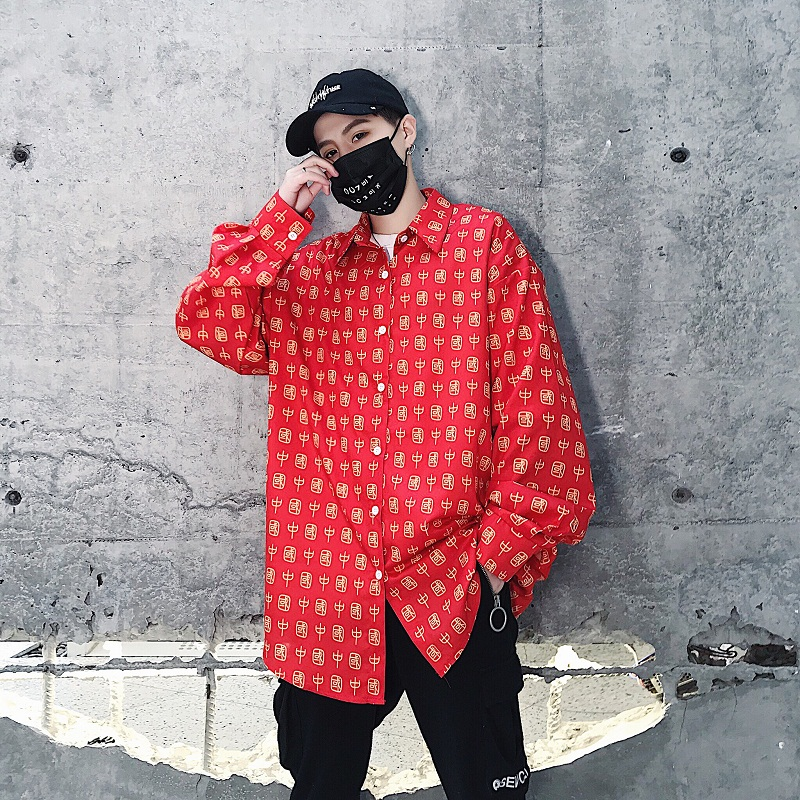 2019 New Men High Street Hip Hop Chinese Print Casual Loose Long Sleeve Shirts Male Streetwear Dress Shirt Party Dance Clothes