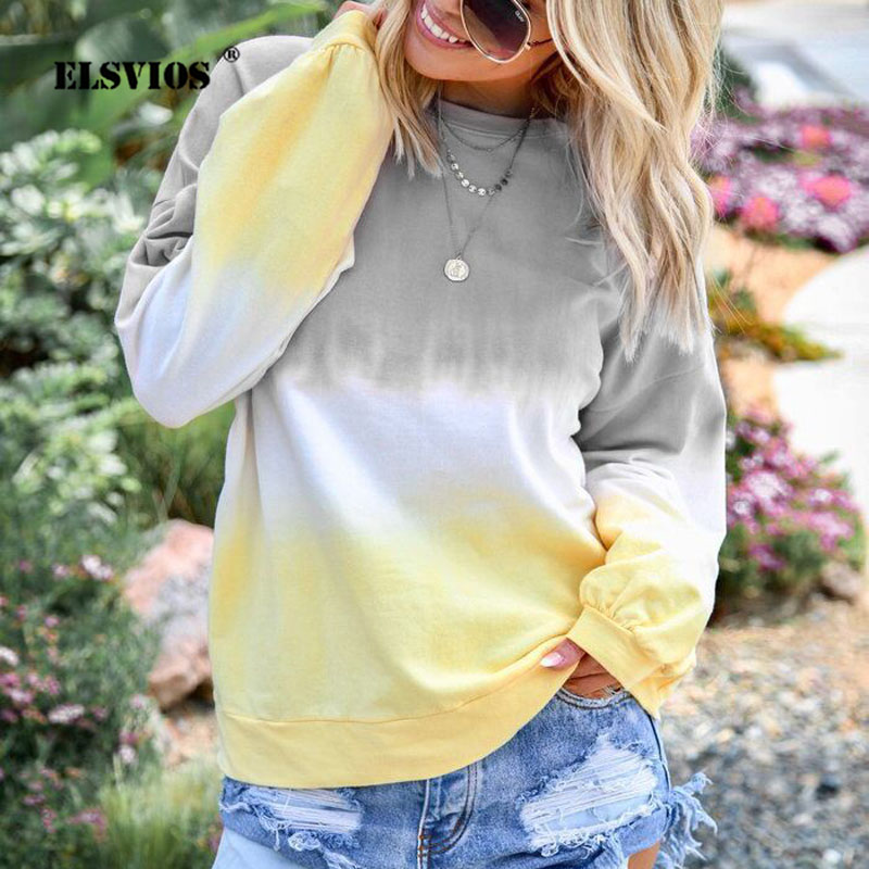 ELSVIOS 5XL Women Hoodies Sweatshirts 2019 Autumn Sexy Gradient Print Long Sleeve Pullover Casual O Neck Patchwork Plus Size Top