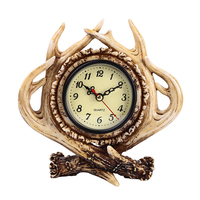 European and American Style Resin Crafts Antlers Decoration Bedroom Living Bar Home Retro Decoration Clock Alarm Clock